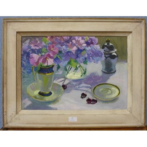 75 - French School, still life of flowers, oil on board, 35 x 50cms, framed