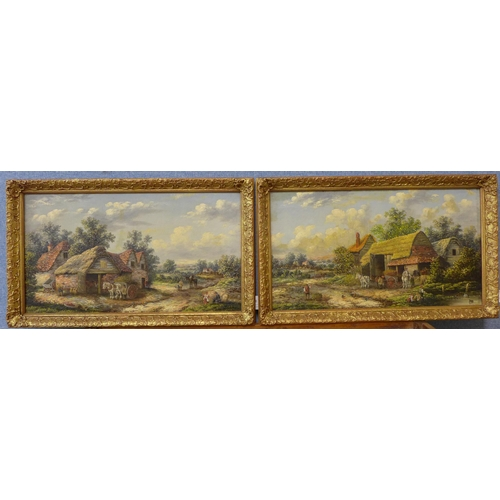 8 - Attributed to Georgina Lara (fl. 1862-1871), pair of rural landscapes with figures and horses and ca...