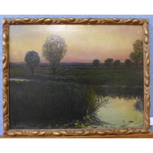 83 - Ceal Archibald Varnon (d.1955), Sunrise Over the Marches, oil on canvas, 34 x 44cms, framed