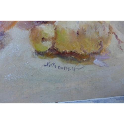 87 - Iris Collett, still life of fruit, oil on board, 34 x 44cms, framed