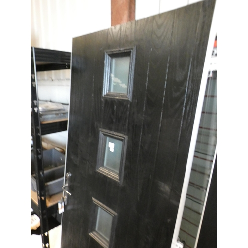 3028A - Black and white, solid front door, lock and key fitted with four vertical square windows, 820 x 1940...