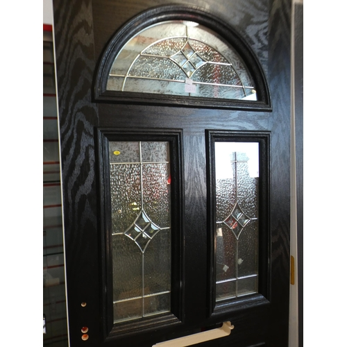3028B - Black and white, solid front door, with three windows on top half, 770 x 1950 x 45mm