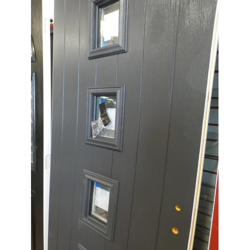 3028C - Grey and white, solid front door, with four square vertical windows, 780 x 1985 x 48mm