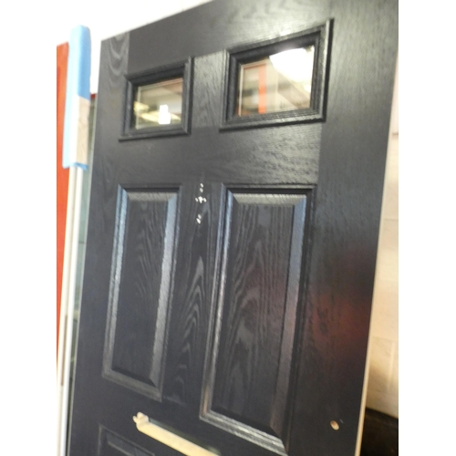 3028E - Navy and white, solid front door, with two small windows at the top, 818 x 1960 x 45mm