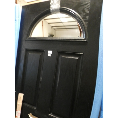 3028H - Black and white, solid front door, no glass, 790 x 1960 x 45mm
