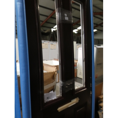 3028J - Dark brown and white, solid front door with two vertical windows, no glass, 812 x 1952 x 45mm