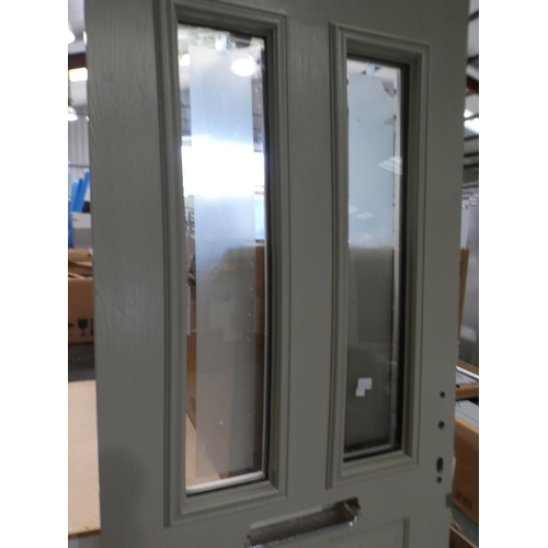 3028K - Beige and white, solid front door with two vertical windows, 840 x 1965 x 50mm