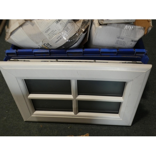 3039C - Quantity of door handles, different sizes and styles and a small UPVC window