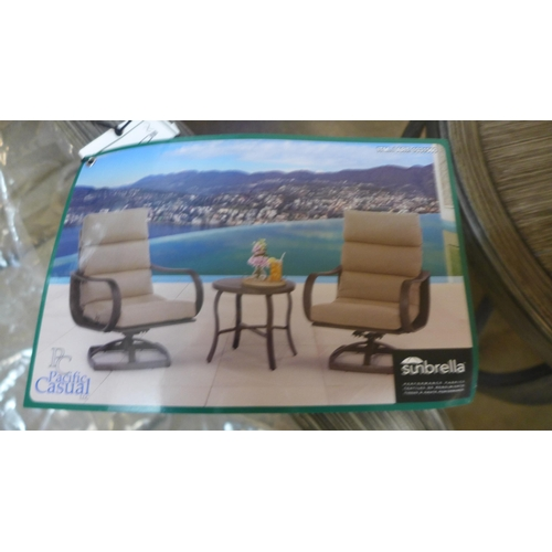 1375 - 3 Piece swivel chair Cafe Set  Pacific Casual  , Rrp £416.66  + Vat   ( 4064-76 )* This lot is subje...