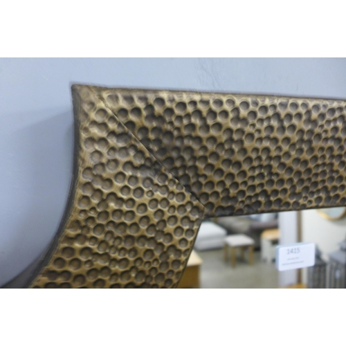 1415 - An Agers hammered bronze effect wall mirror (2079653)   #