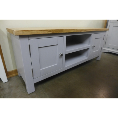 1390 - A Salisbury grey painted oak large TV unit (scratched top)* this lot is subject to VAT