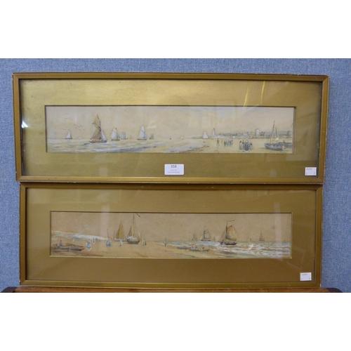 Charles Frederick Allbon (1856-1926), pair of coastal marine landscapes, watercolour, framed