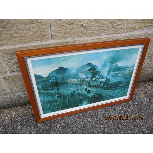 7 - Large framed railway print....