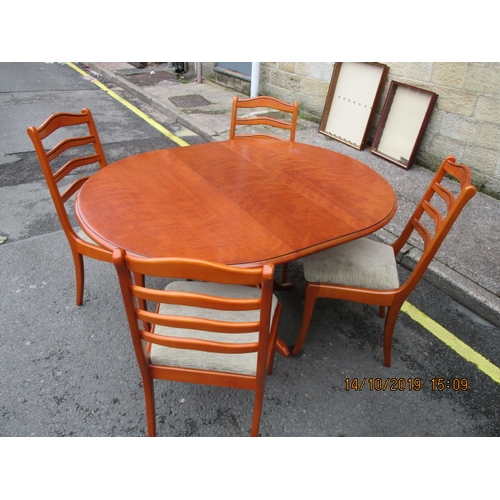 8 - White & Newton Round teak extendable dining table with 4 chairs....