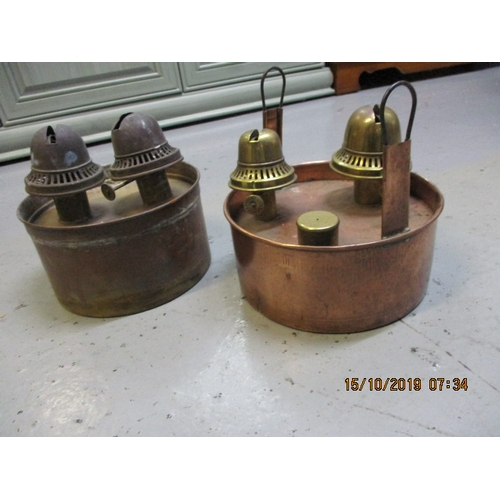 20 - A pair of vintage copper and brass paraffin chicken brooders / greenhouse heaters...