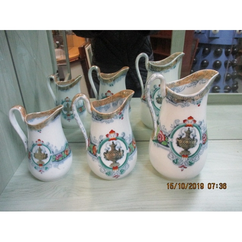 22 - Venetian H & W set of 3 transfer printed jugs pattern 464...
