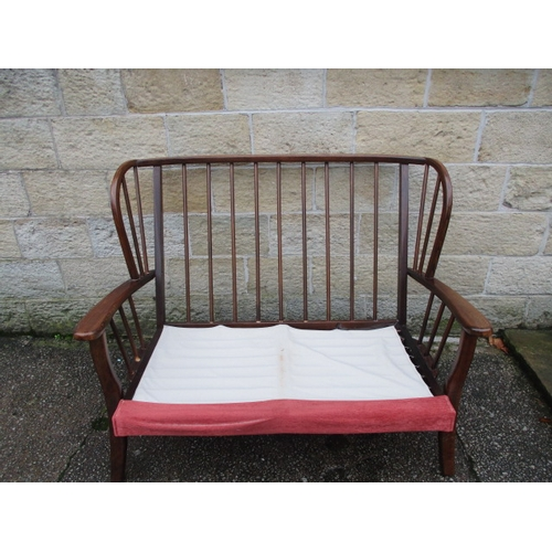17 - Ercol style 2 seater wood framed sofa...
