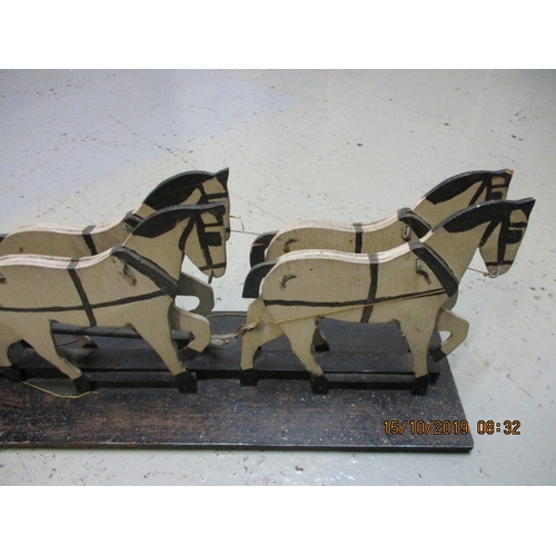 2 - Vintage wooden handmade stagecoach and horse set on a wooden plinth . Over 2 feet long ....