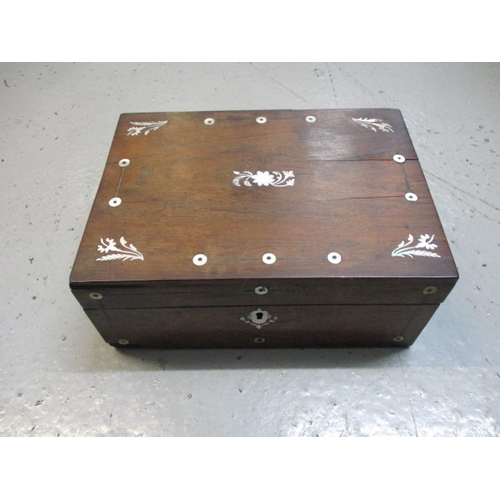 25 - Vintage oak wooden box inlaid with mother of pearl...