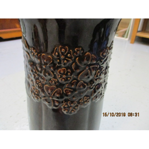 3 - Vintage West German brown vase with flower detail about 14