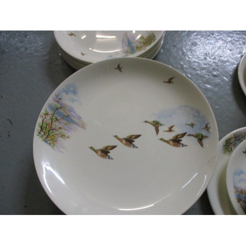 4 - Alfred Meakin flying wild duck six person serving Tea set, including 2 x Tureens, gravy jug, creamer...