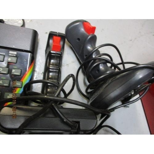 50 - Sinclair Spectrum with leads games Teladon and Avenger joypad turbo port power pack 2 joysticks...