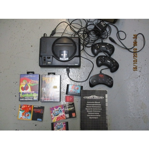 54 - Sega Mega Drive, with controls, leads, power supply, instructions, 8MB memory card plus 4 games, Son...