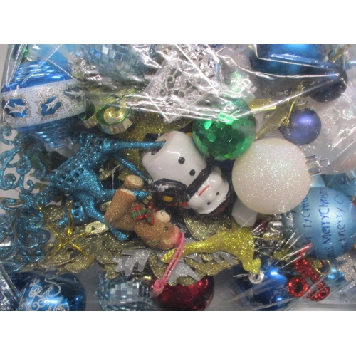 32 - Quantity of Christmas baubles, snowman,snow flakes, blue & white assorted, over 100 in total....