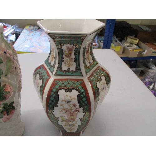 43 - Pair of large vases, oriental design and fruits design....