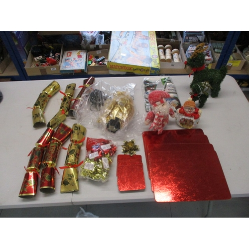 45 - Christmas selection to include light up fibre optic fairy with transformer, place mats, packet of gi...