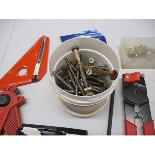 47 - Selection of hardware to include brass hinge, sander pads, door security chain x 2, tools etc....