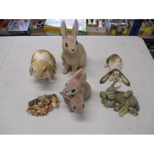 48 - Selection of various sizes rabbit ornaments....