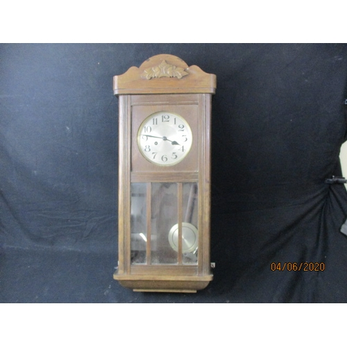 14 - Vintage wooden Wall Clock with Key and Pendulum...