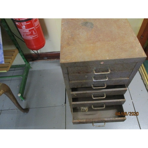 2 - Vintage 10 Drawer Metal Filing Cabinet. Height 75cm...