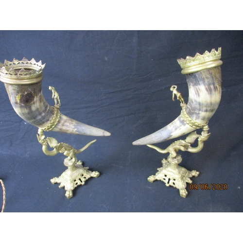 29 - Early century decorative Scottish horns with decorative brass stands....