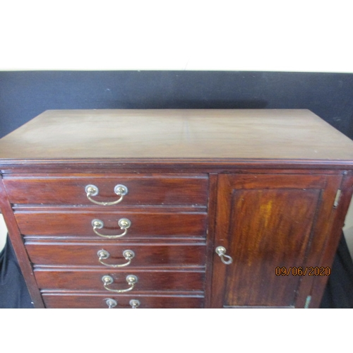 30 - Edwardian music cabinet. 5 Drawers and one side cupboard...