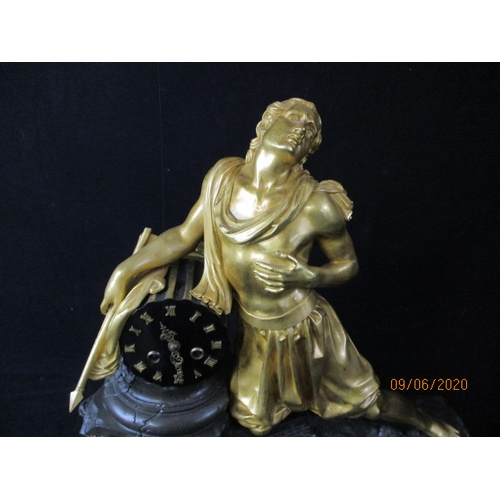 35 - Imposing French Ormalou Mantle clock, classical figurine with applied cartouche. Eight day movement ...