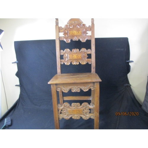 38 - Beautiful carved detail, antique french inlaid chair....