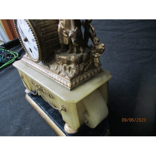 42 - Antique Onyx and gilt metal  mantle clock.  Time piece....
