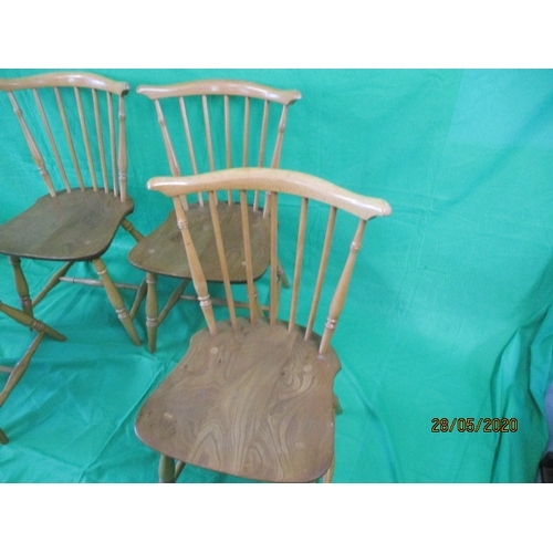 55 - Vintage 1978 Ercol fan back dining chairs model Number 714....