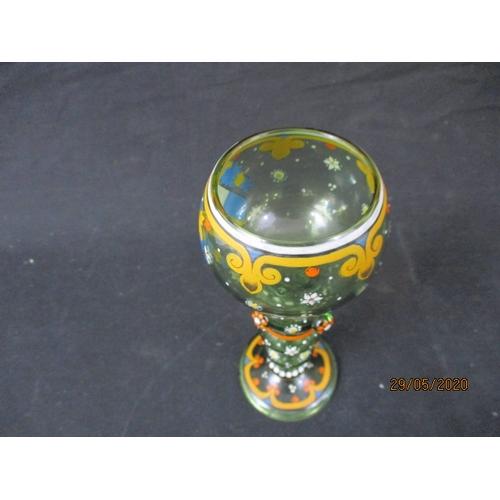 57 - Antique bohemian 19th century German/Austrian armorial hand painted wine glass....
