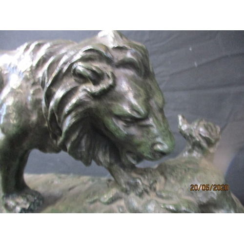 59 - 19th Century large scale bronze iron with good patination in dark green, depicting a lion, by one of...