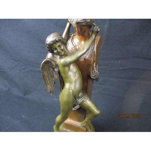 60 - Felix Sanzel sculpture artwork, French 1829-1883 Minerva being blind folded by a nymph. 43cm tall. B...