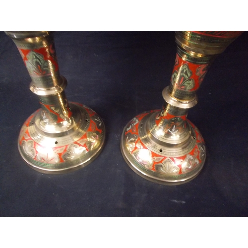 31 - Large heavy Benaries ware vintage Indian enamelled vases.. Height approx 80cm...