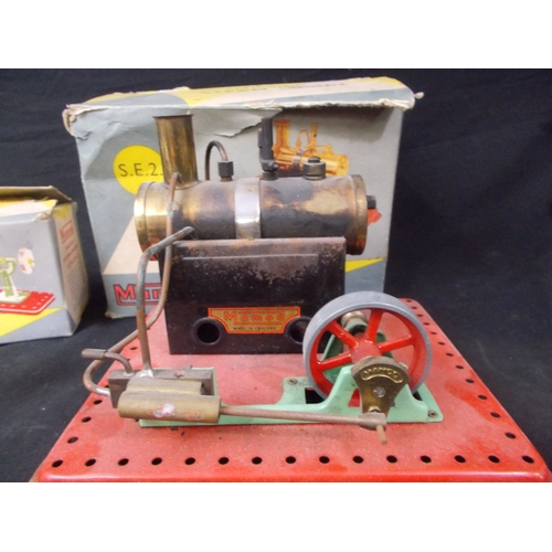 52 - Mamod SE2 stationary steam engine, along with polishing wheel & power press, boxed....