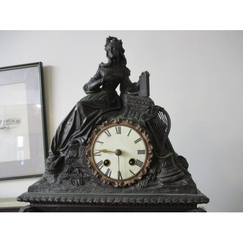 41 - Antique 19th century beautiful detailed bronze mantel clock. (possibly French), 8 day movement strik...