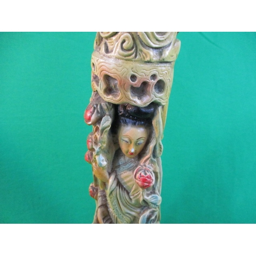 5 - Pair of vintage chalk tusk with Chinese decor