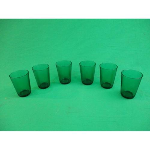 9 - Set of 6 retro green glasses...