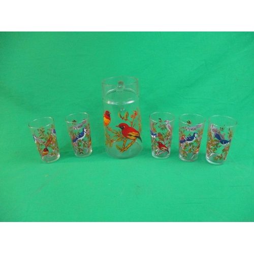 13 - Vintage retro  glass jug with 5 glasses bird related...
