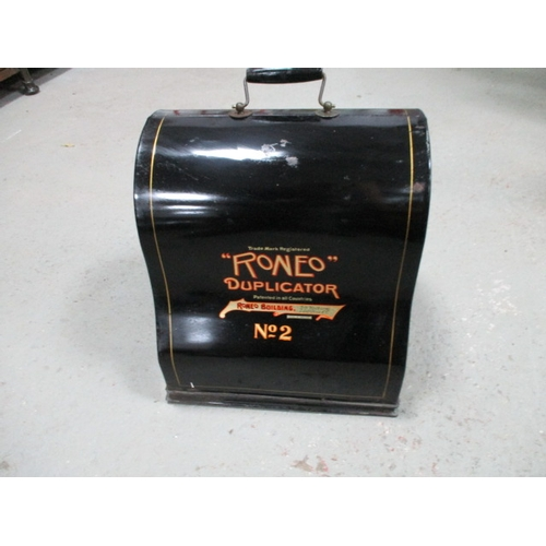 44 - Vintage Roneo Duplicator No. 2 printing machine with fitted tin carrying case...